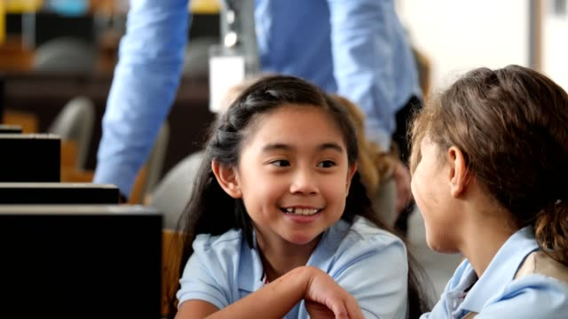 adorable private elementary stem school students in computer lab - filipino ethnicity stock videos & royalty-free footage
