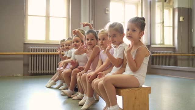 adorable smiling ballerinas - barre stock videos & royalty-free footage