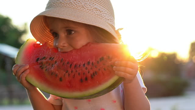 adorable toddler girl holding the big slice of watermelon, refreshing herself during hot summer day - joy stock videos & royalty-free footage