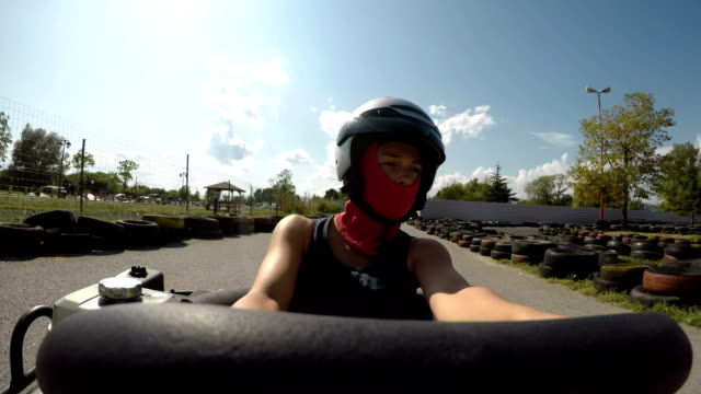adrenaline ride,point of view video - go cart stock videos & royalty-free footage