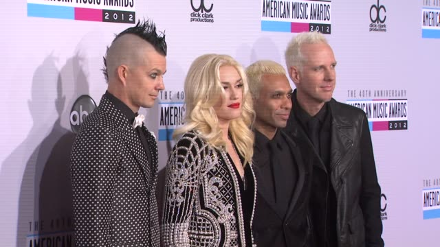 Adrian Young Gwen Stefani Tony Kanal Tom Dumant at The 40th American Music Awards Arrivals on in Los Angeles CA