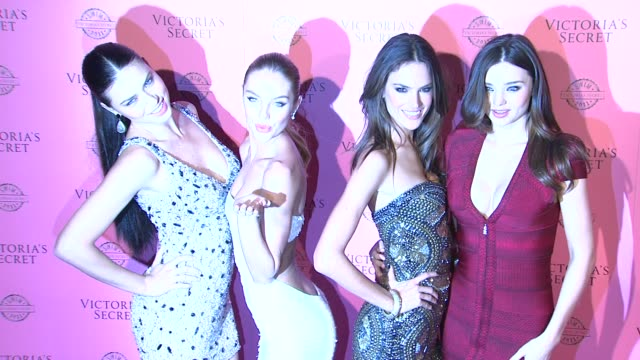 adriana lima candice swanepoel alessandra ambrosio miranda kerr at the victoria's secret 2011 'swim' collection launch at west hollywood ca - miranda kerr stock videos and b-roll footage