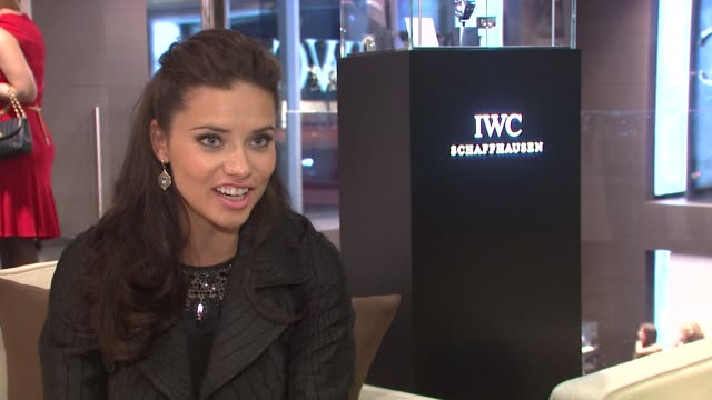 Adriana Lima talks about her love of IWC watches at IWC Flagship Boutique New York City Grand Opening on in New York