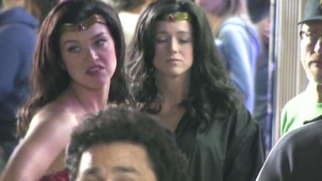 adrianne palicki and her stand in stunt double on the set of wonder woman in hollywood - adrianne palicki stock videos and b-roll footage