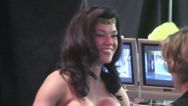 adrianne palicki on set of wonder women in hollywood - adrianne palicki stock videos and b-roll footage