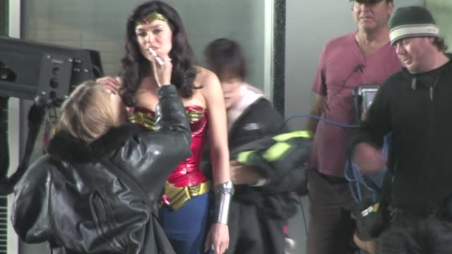 adrianne palicki on the set of wonder woman in hollywood - adrianne palicki stock videos and b-roll footage