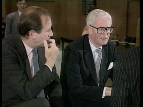 adriatic blockade agreed; finland helsinki uk for sec douglas hurd mp into hall zoom in cms french fm roland dumas along with aides and past r-l to... - douglas hurd stock-videos und b-roll-filmmaterial