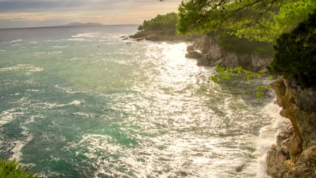 ws ds adriatic rocky coastline - rocky coastline stock videos & royalty-free footage