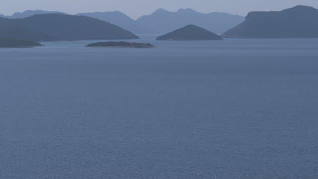 adriatic sea and islands off the coast of croatia from near trsteno, dubrovnik riviera, croatia, europe - adriatic sea stock videos & royalty-free footage