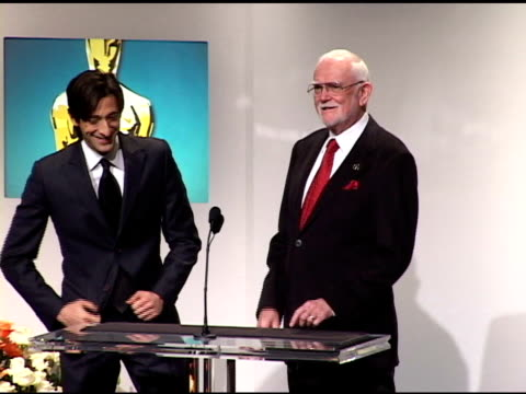 adrien brody and frank pearson announce the nominees for best actress in a suporting role and best actor in a supporting role at the 2005 annual... - best supporting actor stock videos & royalty-free footage