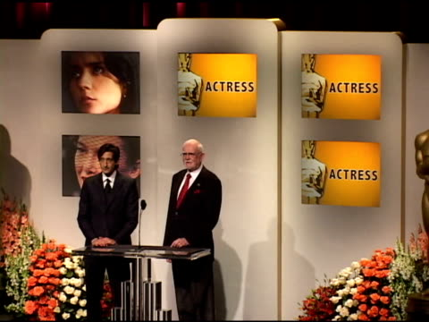 adrien brody and frank pearson announce the nominees for best actress in a lead role, and best actor in a lead role at the 2005 annual academy awards... - adrien brody stock videos & royalty-free footage