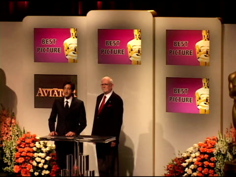adrien brody and frank pearson announce the nominees for best animated feature film, and best picture of the year at the 2005 annual academy awards... - adrien brody stock videos & royalty-free footage