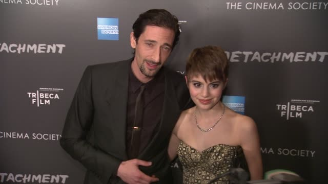 adrien brody and sami gayle at premiere of tribeca film's detachment hosted by american express & the cinema society on 3/13/2012 in new york, ny,... - adrien brody stock videos & royalty-free footage