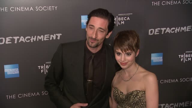 adrien brody and sami gayle at premiere of tribeca film's detachment hosted by american express the cinema society on 3/13/2012 in new york ny united... - adrien brody stock videos and b-roll footage