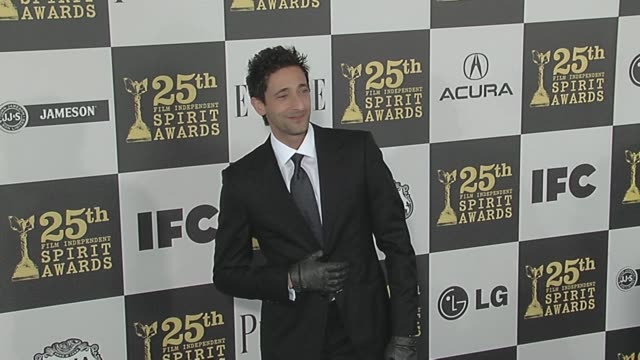 adrien brody at the 2010 film independent's spirit awards arrivals at los angeles ca - adrien brody stock videos and b-roll footage