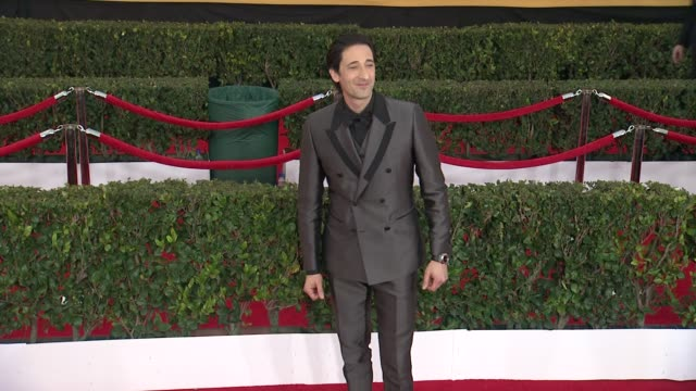 adrien brody at the 21st annual screen actors guild awards - arrivals at the shrine auditorium on january 25, 2015 in los angeles, california. - adrien brody stock videos & royalty-free footage