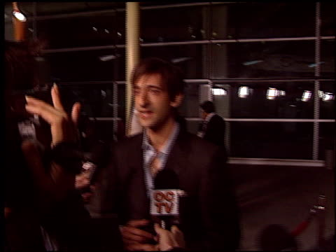 adrien brody at the premiere of 'the jacket' at pacific arclight theatre in los angeles, california on february 28, 2005. - adrien brody stock videos & royalty-free footage