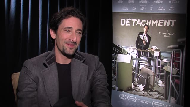 adrien brody describes what it was like working with sami gayle who was 14-year old at the time at detachment press junket on 3/6/2012 in new york,... - adrien brody stock videos & royalty-free footage