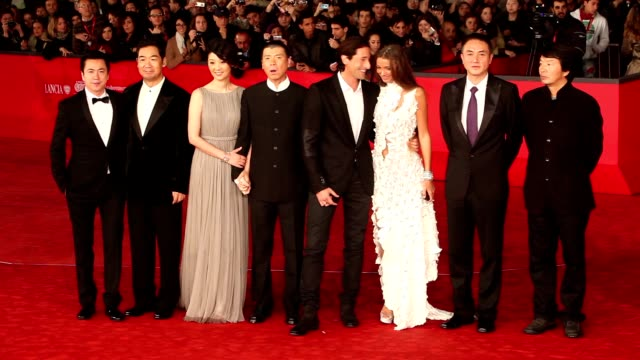 adrien brody, lara lieto, wang zhonglei, xu fan, feng xiaogang and zhang guo li at '1942' premiere: 7th rome film festival at auditorium parco della... - adrien brody stock videos & royalty-free footage