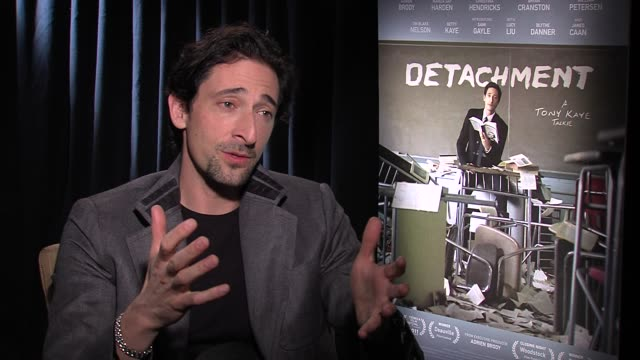 adrien brody on what attracted him to executive produce and star in this film, says his father was a public school teacher in new york at detachment... - adrien brody stock videos & royalty-free footage
