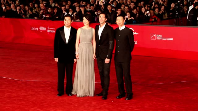 adrien brody, xu fan, feng xiaogang and zhang guo li at '1942' premiere: 7th rome film festival at auditorium parco della musica on november 11, 2012... - adrien brody stock videos & royalty-free footage