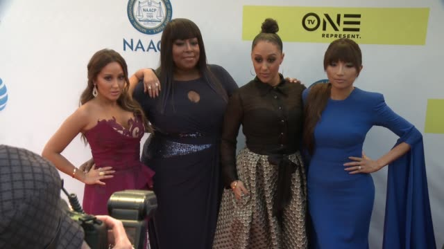 Adrienne Bailon Loni Love Tamera Mowry and Jeannie Mai at 48th NAACP Image Awards at Pasadena Civic Auditorium on February 11 2017 in Pasadena...