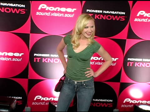 adrienne frantz at the pioneer electronics launch of their automotive navigation system at montmartre lounge in hollywood, california on april 21,... - adrienne frantz stock-videos und b-roll-filmmaterial