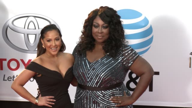 Adrienne Houghton and Loni Love at the 49th NAACP Image Awards at Pasadena Civic Auditorium on January 15 2018 in Pasadena California