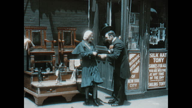 adult caucasian male shoe shiners inside silk hat tony shoe shine parlor shining adult caucasian male customers shoes. adult caucasian man dressed in... - top hat stock videos & royalty-free footage