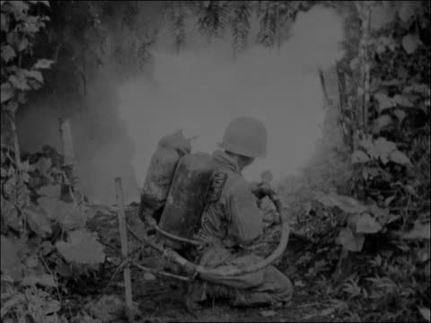 adult caucasian male us marine walking down hill flamethrower strapped to back unleashes flames into secluded cavelike area two adult caucasian male... - korea bildbanksvideor och videomaterial från bakom kulisserna