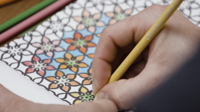 Adult coloring book closeup
