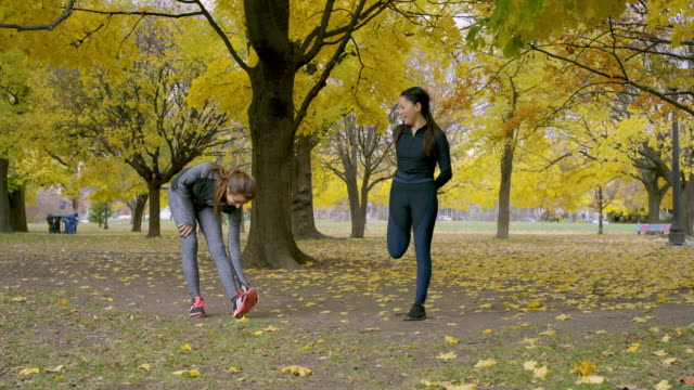 Adult females stretching before a run in a park