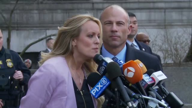 adult film star stormy daniels tells reporters after a court hearing that her attorney will not rest until everyone finds out the truth and the facts... - stormy daniels video bildbanksvideor och videomaterial från bakom kulisserna