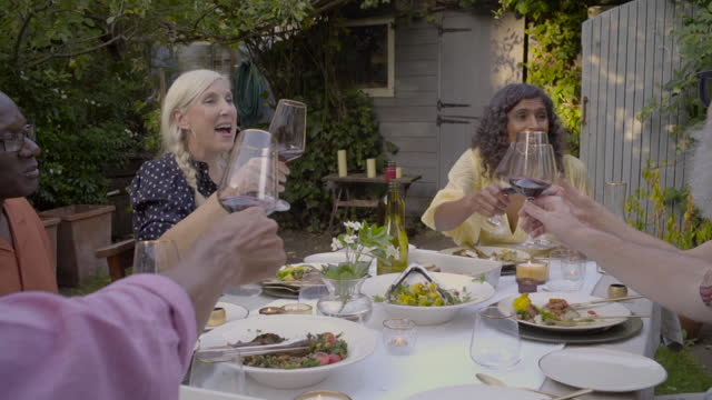 adult friends toast around the dinner table - serene people stock videos & royalty-free footage