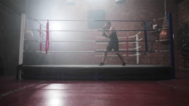 vidéos et rushes de adult male boxer shadowboxing - boxe