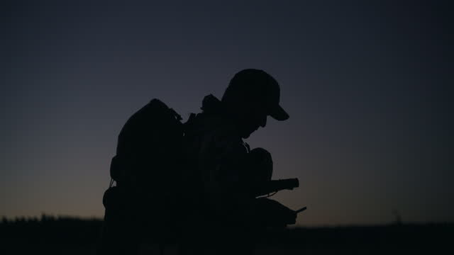 adult male hunting at dawn - megaphone stock videos & royalty-free footage