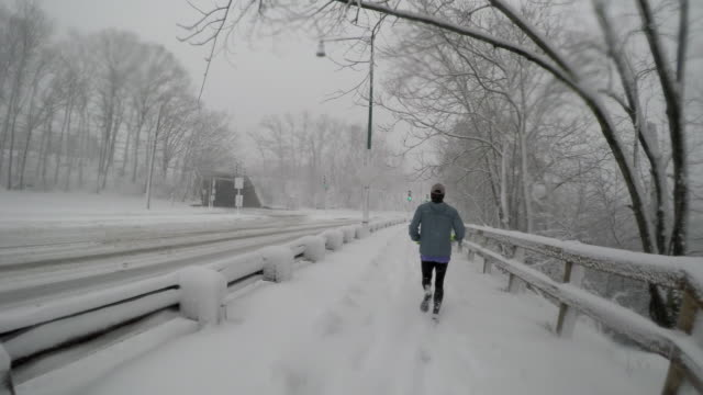 Adult male runs by snow-covered trees and trail during winter snowstorm