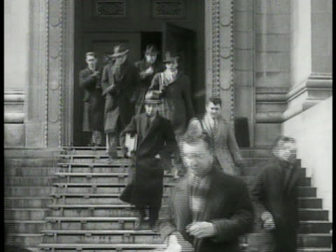 adult male students walking down steps of harvard university law school. framed photographs of men roosevelt brain trusters. ext harvard law school.... - harvard university stock videos & royalty-free footage