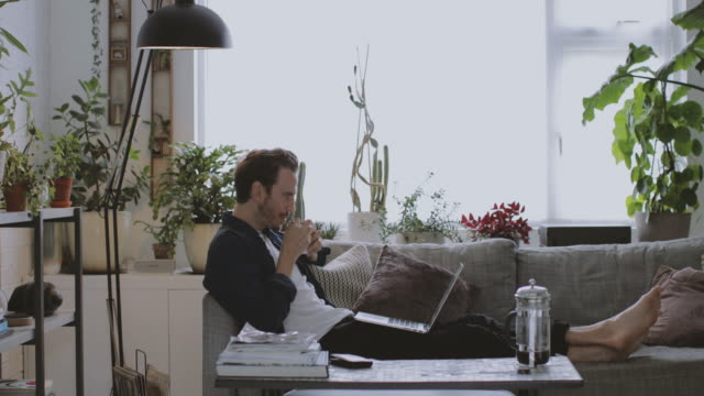 vidéos et rushes de adult male working from home in living room - lit ameublement