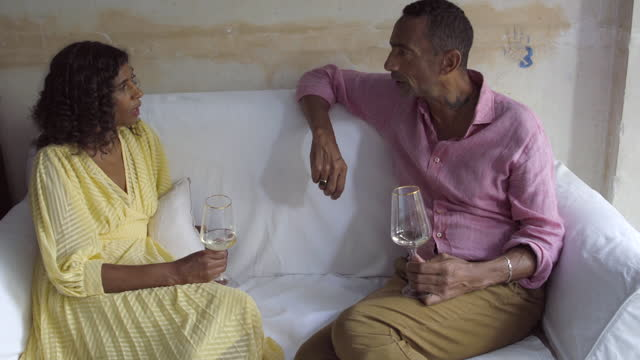 adult man and woman talk - mature couple stock videos & royalty-free footage