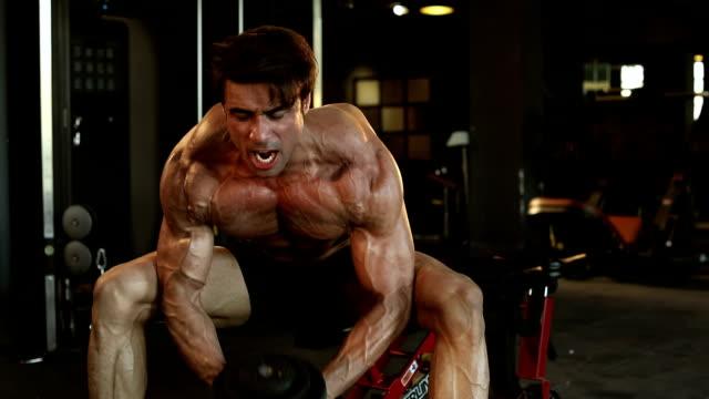 adult man doing exercise in gym, delhi, india - handgewicht stock-videos und b-roll-filmmaterial
