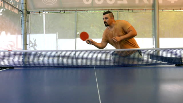 adult man playing table tennis - table tennis bat stock videos & royalty-free footage