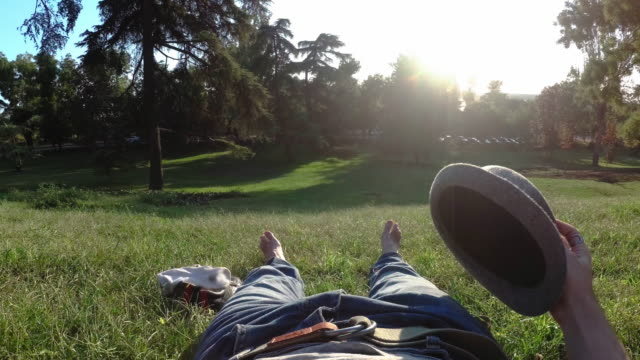adult man resting in the park at west park in argüelles madrid - slipper stock videos and b-roll footage