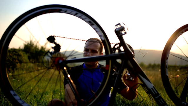 adult man service pedal of his bike - repairing stock videos & royalty-free footage