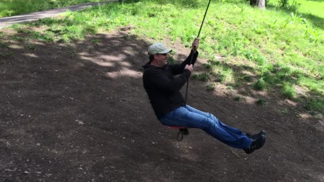 Adult Man Swinging on a Tree Swing