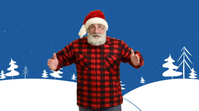 adult senior beard man showing an copy space and showing a thumb  in a hat santa claus  on a cartoon background on the theme of winter