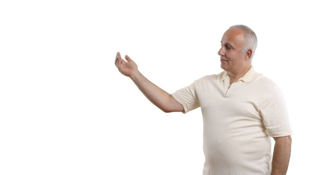 adult senior man showing blank area and crosses his arms - white shirt stock videos & royalty-free footage