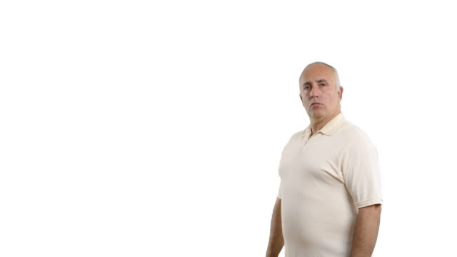 adult senior man showing copy space and a ban - white shirt stock videos & royalty-free footage