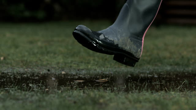 Adult walking through a puddle, slow motion