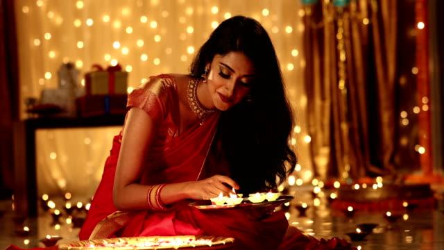 Adult woman celebrating diwali festival, Delhi, India